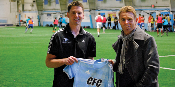 Robin Schuppert (left) and Steve Coxon are two of the three people with ties to Quinnipiac University who have led the startup of Connecticut's new soccer franchise.