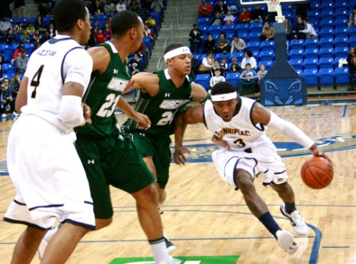 Wagner 51, Quinnipiac 50Quinnipiacs James Johnson drives to the hoop in Saturdays game vs. Wagner.