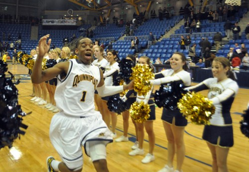 Quinnipiac 69, Mount St. Mary's 66Zaid Hearst celebrates Quinnipiac's victory after the buzzer in Thursday night's game vs. Mount St. Mary's.