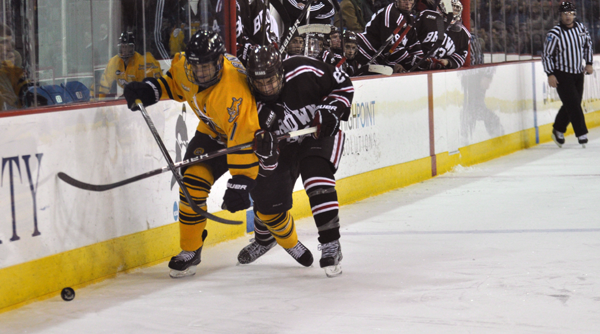 <h3> Quinnipiac 4, Brown 1 </h3> Quinnipiac's Ben Arnt chases the puck while being checked by a Brown player.