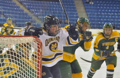 Clarkson 3, Quinnipiac 2Quinnipiac's Kelly Babstock skates toward the puck in the first period of Saturday's game vs. Clarkson.
