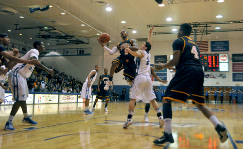 Quinnipiac 67, CCSU 59Quinnipiac's Dave Johnson finds a lane and goes for a layup in the first half of Sunday's game vs. CCSU.