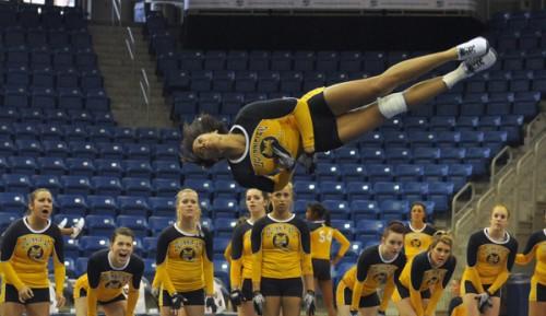 Maryland 284.540, Quinnipiac 274.855Quinnipiac's Erin Trotman does a flip in Saturday's meet vs. Maryland.