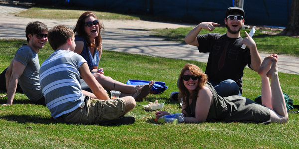 <h3>Fun in the sun</h3>Quinnipiac students spend time outside on the Quad Thursday afternoon enjoying the sun.