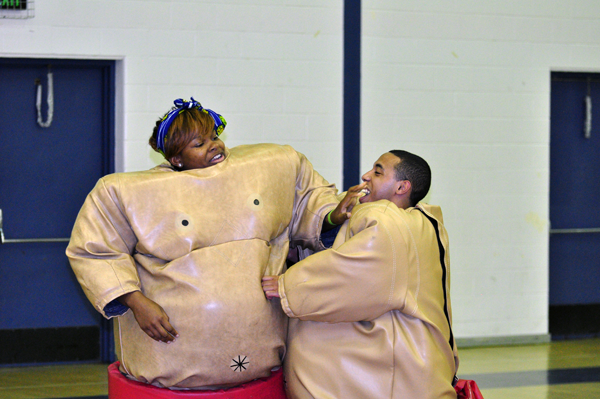 <h3>Sumo for Kumo</h3>Quinnipiac students Thursday at Burt Khan wrestling during Sumo for Kumo.