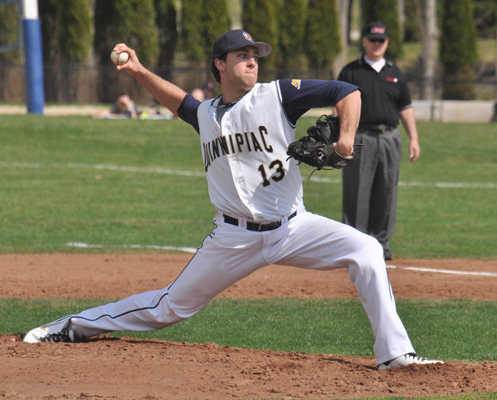 Fairleigh Dickinson 8, Quinnipiac 4Quinnipiac's Derek Lamacchia pitches in game 1 of Friday's doubleheader vs. Fairleigh Dickinson.