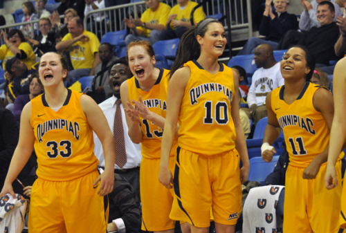 <h3>Quinnipiac 65, Mount St. Mary's 61</h3>The Quinnipiac bench reacts to a basket in the second half of Saturday's game vs. Mount St. Mary's.