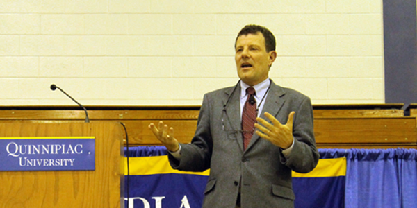 Nicholas Kristof teaches students how to make a difference in the world at Burt Kahn Court Thursday.