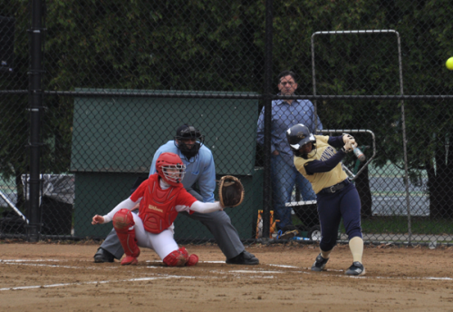 <h3>Quinnipiac 12, Sacred Heart 7</h3>Quinnipiac's Nikki Barba hits a home run in game 1 of Sunday's doubleheader vs. Sacred Heart.