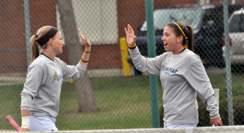 Fordham 7, Quinnipiac 0Quinnipiac's Rachel Cantor high-fives teammate Sarah Viebrock after a point in Sunday's match vs. Fordham.