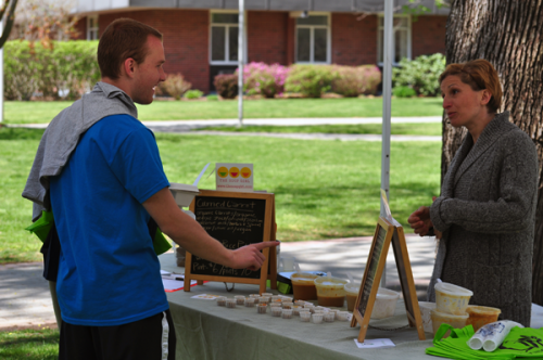 Earth Day FairA Quinnipiac student at the farmers market, Thursday outside of Burt Kahn during the Earth Day fair.