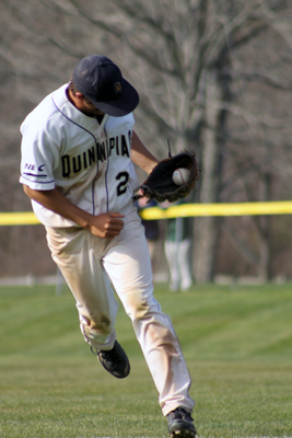 <h3>The Quinnipiac baseball team beat Mount Saint Mary's in the second game of their doubleheader on Saturday, April 14</h3>Quinnipiac's Forrest Dwyer makes a catch in their game on Saturday