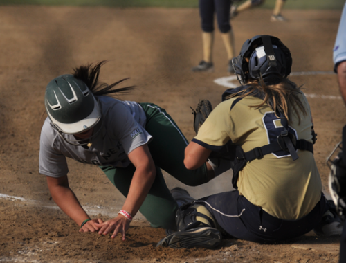<h3>Quinnipiac 9, Wagner 2</h3>Quinnipiac's Aslhey Heiberger tags Wagner's Ashley Olson out at the plate in game 2 of Saturday's doubleheader.