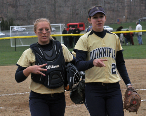<h3>Quinnipiac 5, Sacred Heart 4</h3>Quinnipiac's Ashley Heiberger and Heather Schwartzburg celebrate after winning game 2 of Sunday's doubleheader vs. Sacred Heart.