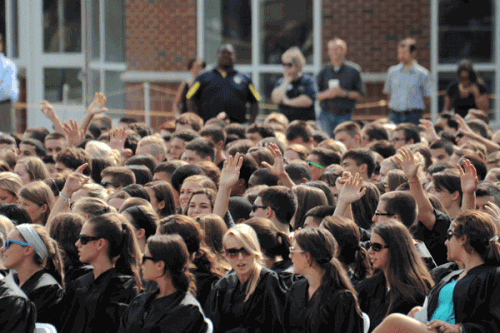 The Quinnipiac Class of 2016 gets inducted on the Mount Carmel Campus on Friday, August 24, 2012