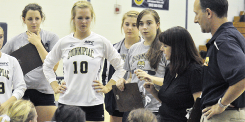 FILE: In this photo from Sept. 11, 2010, former head coach Robin Lamott Sparks talks to the volleyball team during a game.