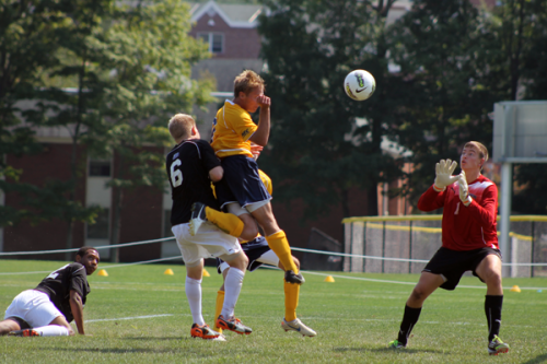 Quinnipiac's Philip Suprise scores a goal during Sunday's game vs. Lafayette.