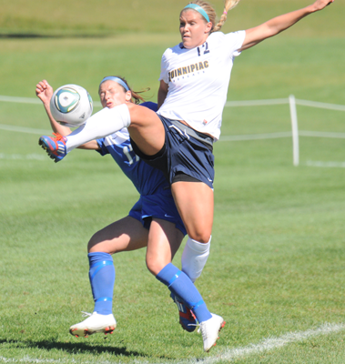 Quinnipiac 1, CCSU 0Quinnipiac's Shauna Edwards challenges for a ball in the air during Sunday's game vs. CCSU.