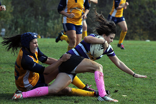 Quinnipiac's Katie Wood makes a tackle during Saturday's game.