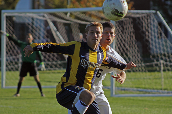 Quinnipiac's Philip Suprise eyes the ball during Thursday's game.