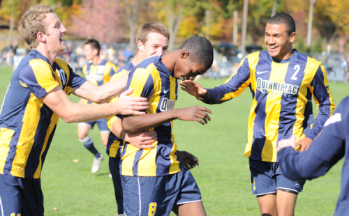 Quinnipiac 3, Mount St. Mary's 0Quinnipiac's Machel Baker celebrates with his teammates after scoring a goal in Sunday's game vs. Mount St. Mary's.