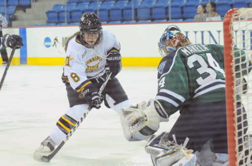 Quinnipiac 4, Mercyhurst 4Quinnipiacs Kelly Babstock scores her first goal of the night in the second period of Fridays game vs. Mercyhurst.