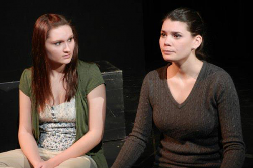 From left: Emily Gerrish and Alyssa Dunn perform Swimming in the Shadows, a performance by Quinnipiacs Fourth Wall Theater Group