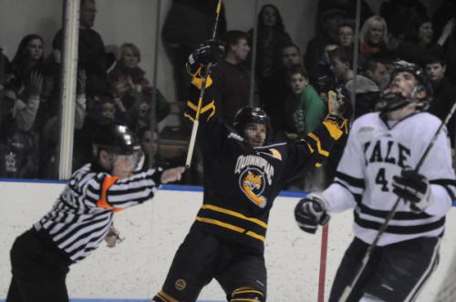 Quinnipiac 6, Yale 2Quinnipiac's Cory Hibbeler celebrates after scoring a goal in Saturday's game vs. Yale.