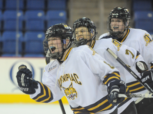 <h3>Quinnipiac 4, Cornell 1</h3>Quinnipiac's Kelly Babstock celebrates after scoring an empty-net goal in Friday's game vs. Cornell.