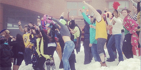 Students on York Hill gathered to film another edition of the 'Harlem Shake' Feb. 12.