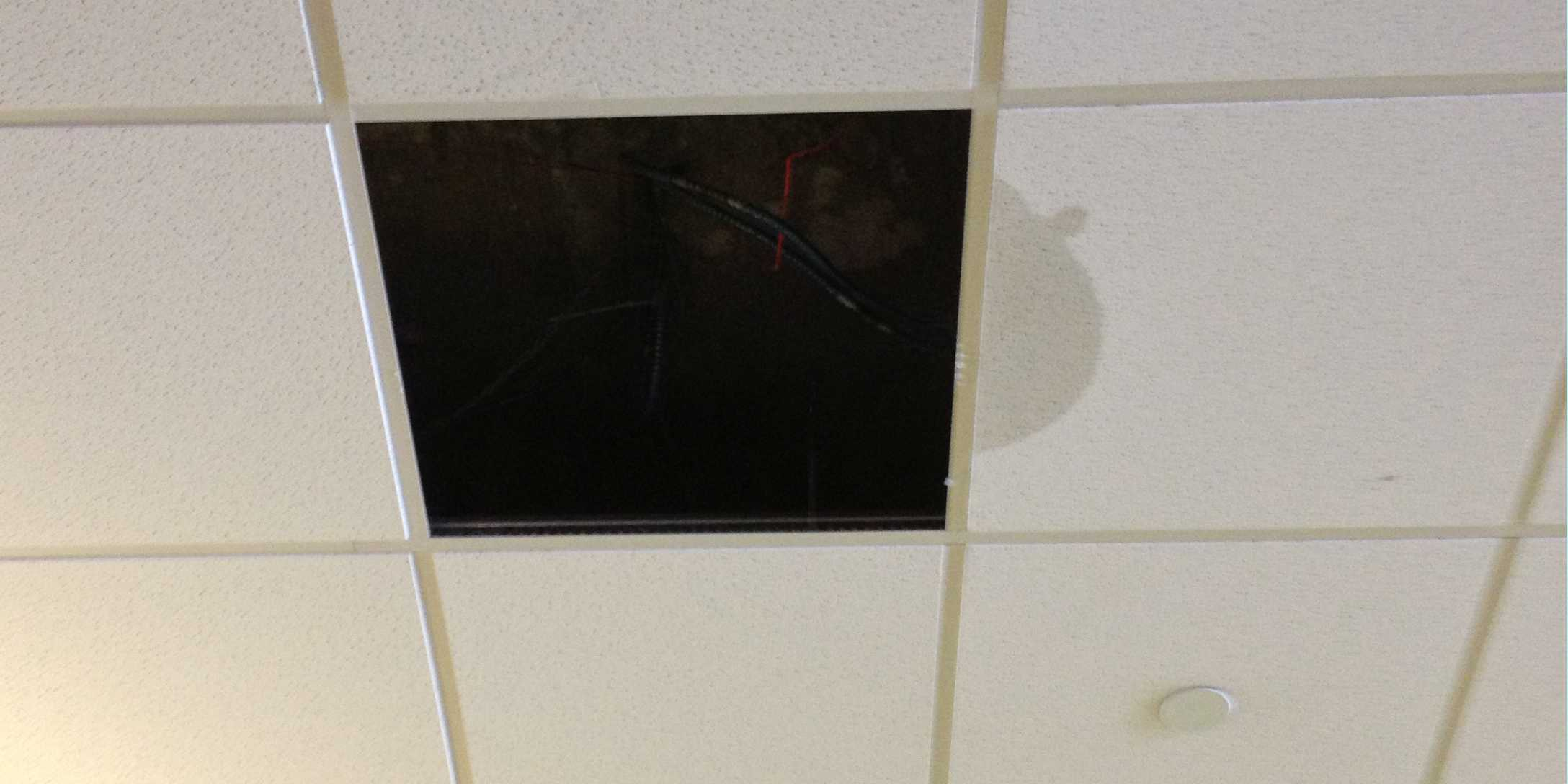 Ceiling tiles in the Carl Hansen Student Center are leaking and dropping due to the excess of snow on the roof.
