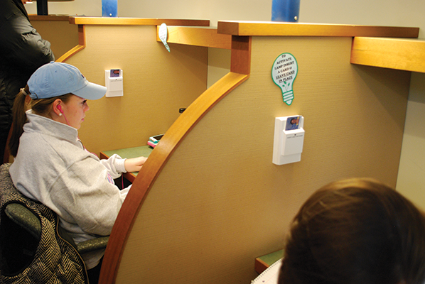 Recently the university constructed Q-card activated lamps in the Arnold Bernhard Library cubicles.