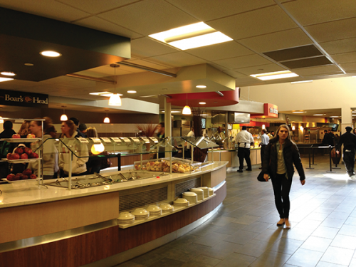 Chartwells employees clean up their stations well before 9 p.m., sometimes two hours before closing.