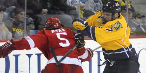 Men's ice hockey forces Game 3 in 10-goal triumph