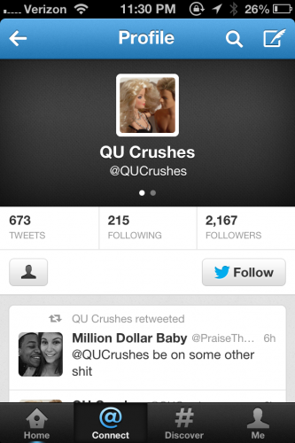 Students can anonymously submit both genuine and vulgar descriptions of their crush with @QUcrushes.
