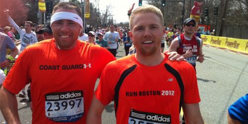 Brian (L) and Jim McDonald, two of Jack McDonald's four sons, ran the Boston Marathon on April 15.