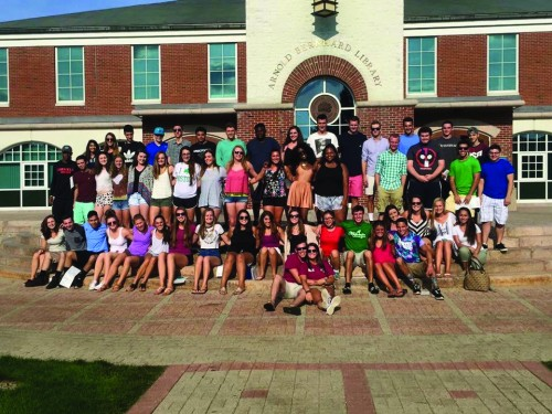 Two+orientation+leaders+with+their+merged+freshmen+groups+during+Welcome+Weekend.+