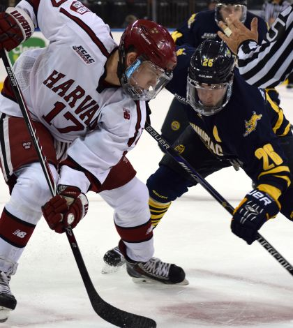 Men's ice hockey hangs on to beat Harvard at Madison Square Garden