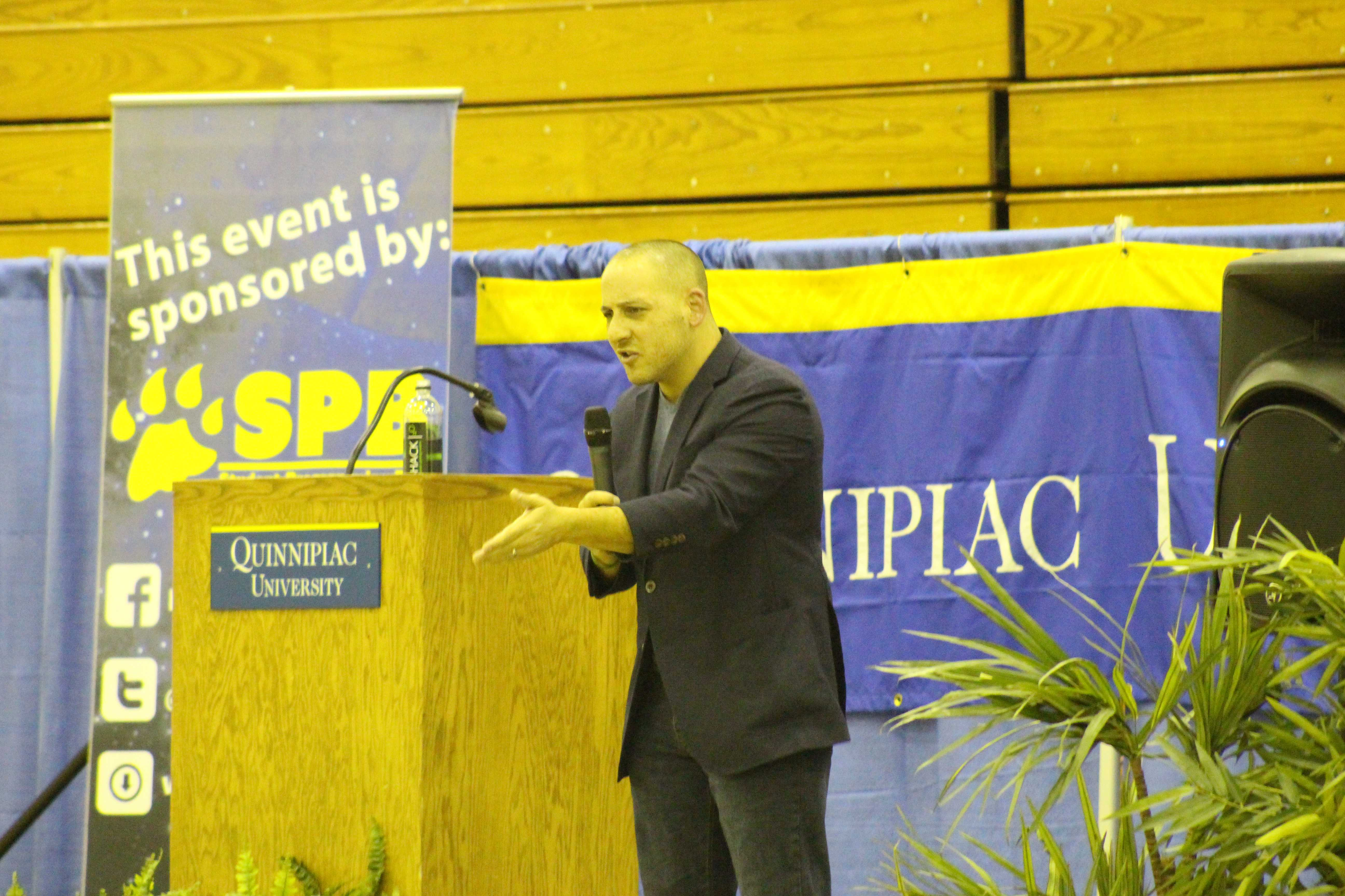 Kevin Hines tells students how he has struggled with mental illness.
