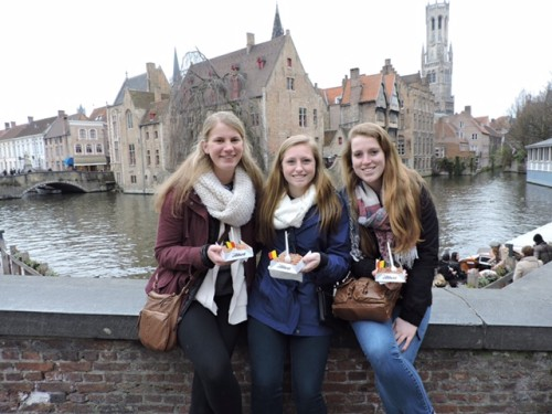 From left: Lauren Cleary, Monica Hall and Cate Duffy during their semester abroad.