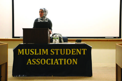 Assisting+Muslim+Chaplain+at+Trinity+College+Shine+Hawramani+%28above%29+spoke+to+students+during+the+%E2%80%9CWomen+in+Islam%E2%80%9D+lecture+as+part+of+MSA%E2%80%99s+Islamic+Awareness+Week.+