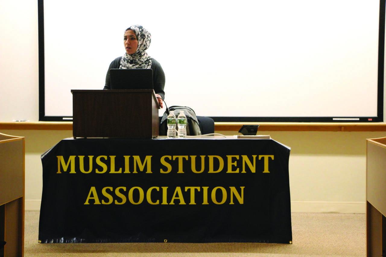 """Assisting Muslim Chaplain at Trinity College Shine Hawramani (above) spoke to students during the """"Women in Islam"""" lecture as part of MSA's Islamic Awareness Week."""