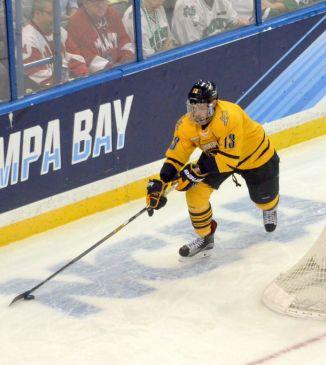 Men's ice hockey's Chase Priskie improving amidst NHL draft eligibility