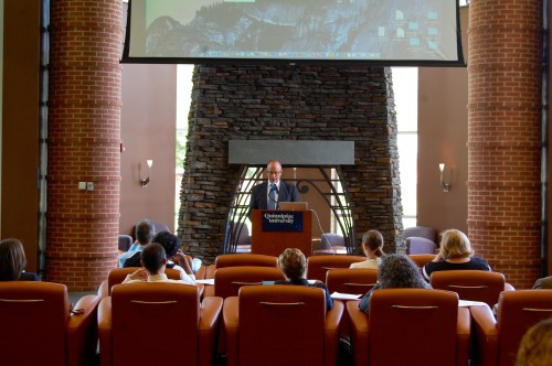 Vice President and Provost Mark Thompson speaks at the teach-in that was held in the Piazza on Thursday, Sept. 29.