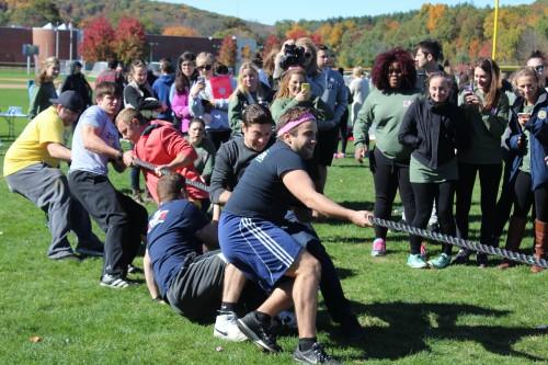 Members of Pi Kappa Phi compete in the tug of war tie breaker.