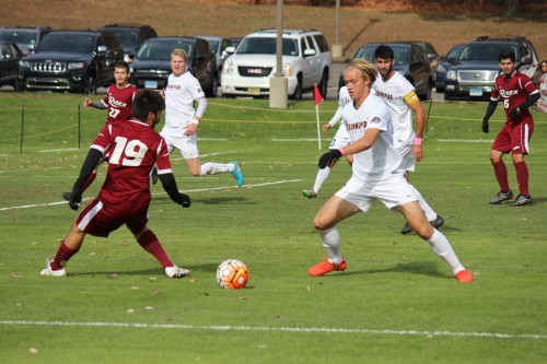 Men's soccer falls to Rider on Senior Day