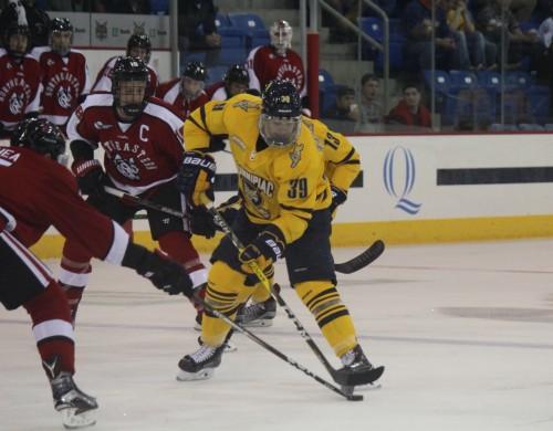 Men's ice hockey ties Northeastern in season opener