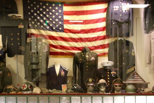 The Quinnipiac bookstore displays various military uniforms to commemorate Veterans Day.