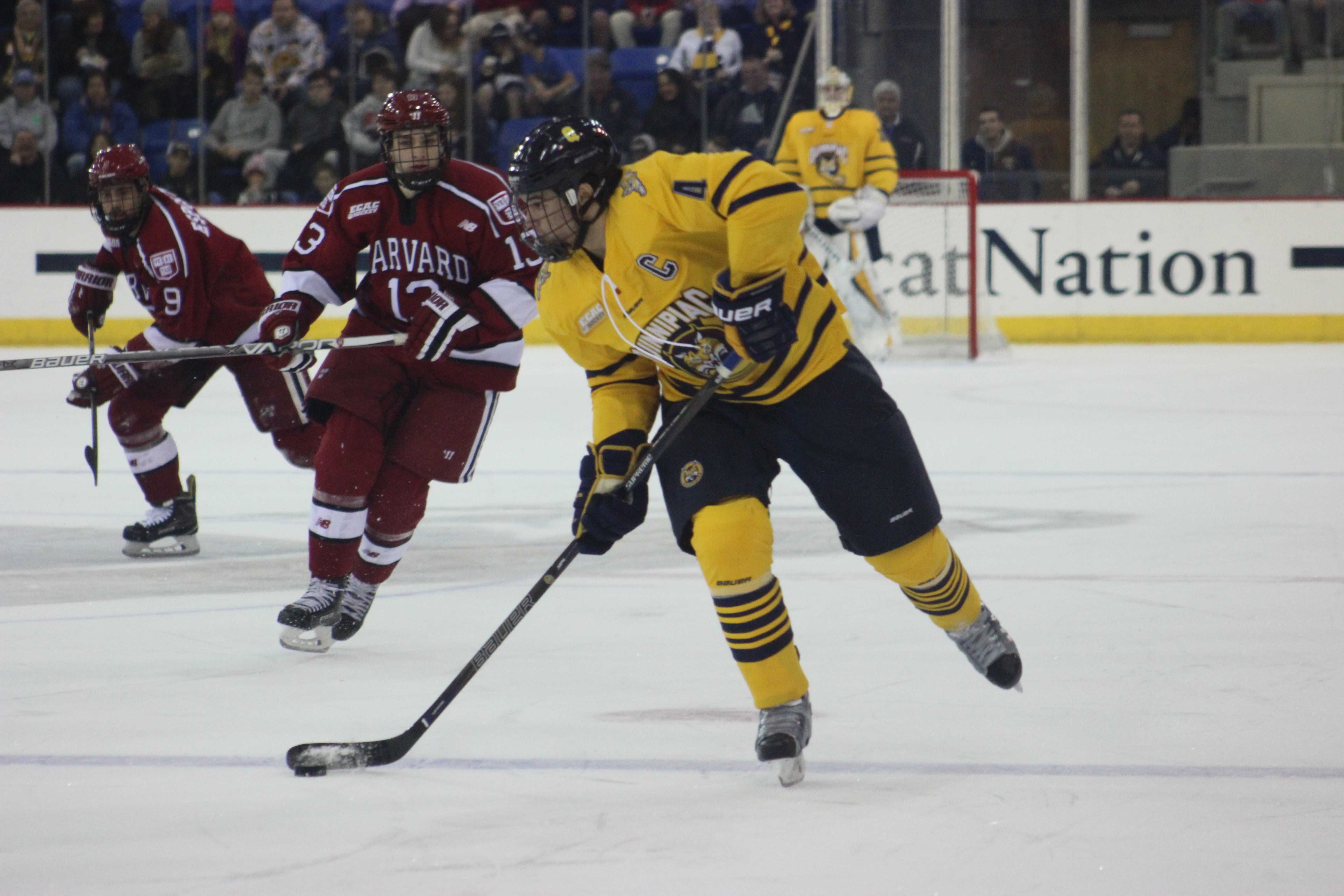 Harvard ends Quinnipiac men's ice hockey season in Lake Placid