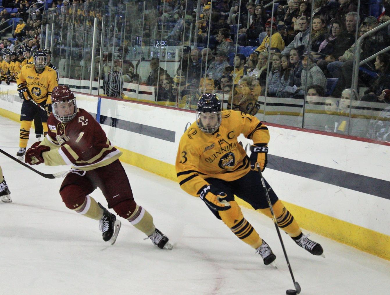 Quinnipiac men's ice hockey upsets No. 18 Boston College, 1-0